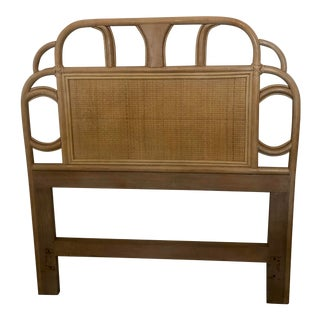 Vintage Mid Century Rattan Bamboo and Cane Tropical Boho Wrapped Natural Twin Headboard For Sale