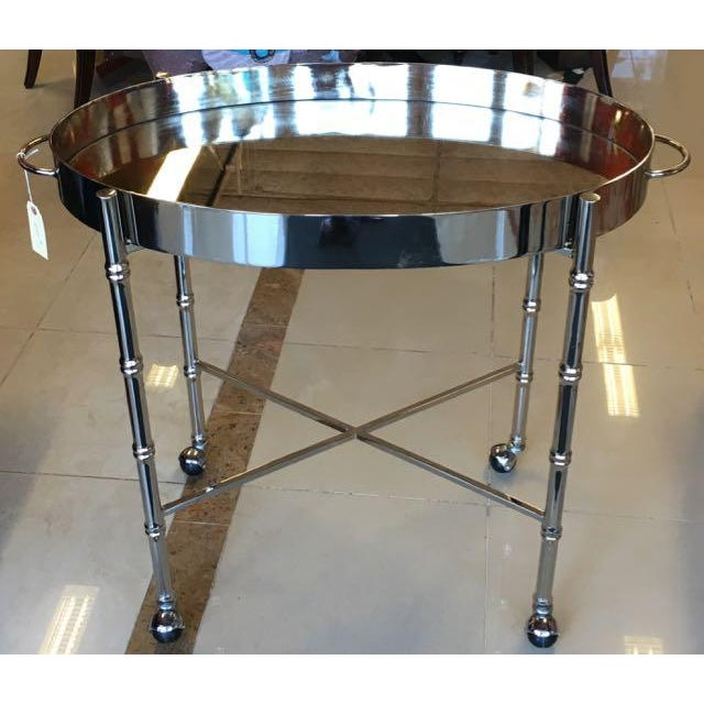 1970s Hollywood Regency Chrome Bar Cart/ Tray-On-Stand For Sale - Image 4 of 11
