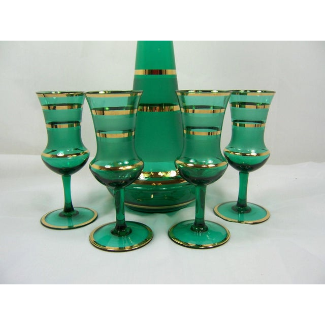 Czech Bohemian Green Decanter With 4 Glasses - Image 4 of 4