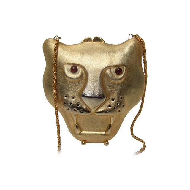 Red Saks Fifth Avenue Gilt Metal Panther Evening Bag Made in Italy For Sale - Image 8 of 8