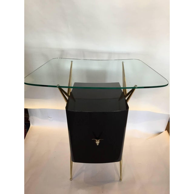 Italian Modernist Dry Bar with Floating Glass Top and Brass Accents - Image 3 of 6
