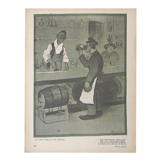 Antique French Lithograph of Satire Bars/Imbibing For Sale