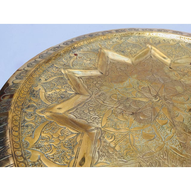 Middle Eastern Persian Antique Round Brass Tray For Sale - Image 4 of 8