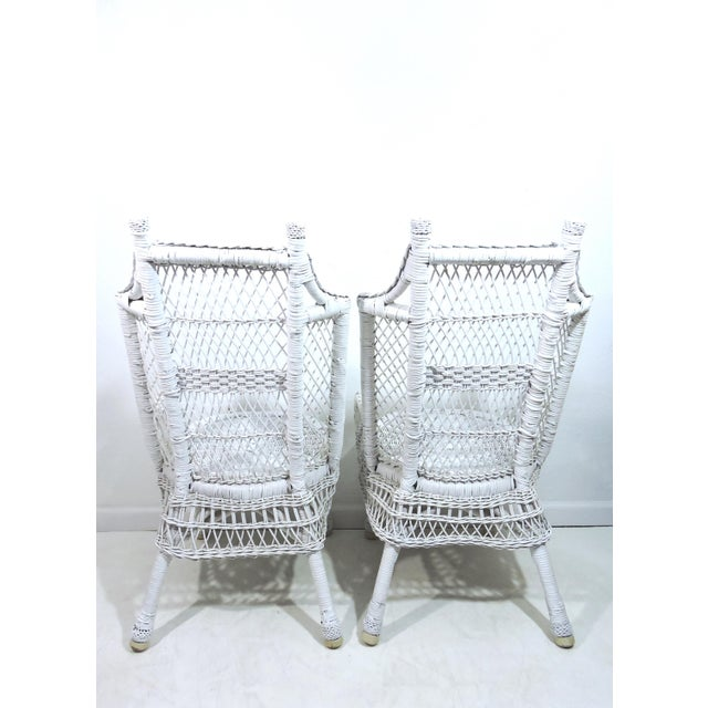 Heywood-Wakefield Vintage White Wicker and Cane High Back Conservatory Armchairs - a Pair For Sale - Image 4 of 7
