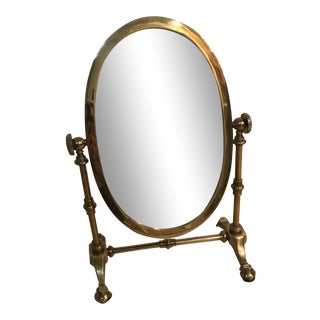 1990s Oval Brass Vanity Mirror For Sale