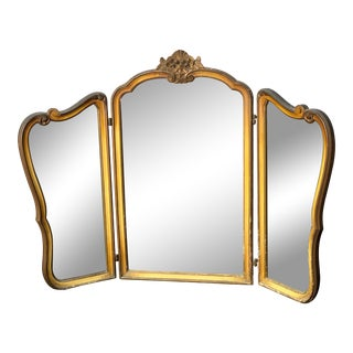 Mid 19th Century Antique French Trifold Gold Mirror For Sale