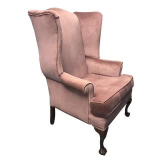 Vintage Mauve Velvet Upholstered Wingback Chair With Wood Claw Feet