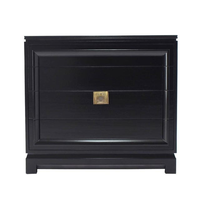 Black Lacquer Four Drawer Bachelor Chest For Sale - Image 9 of 10
