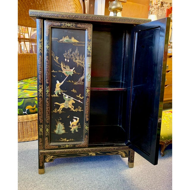 1950s 1950's Vintage Black Lacquer Chinoiserie Armoire For Sale - Image 5 of 12