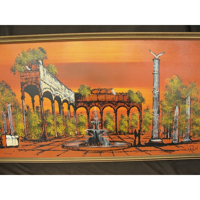 1950's Orange Ruins Painting by V Ran Raymor - Image 3 of 7