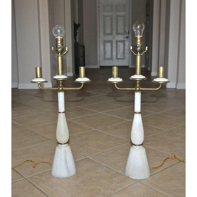 Gio Ponti Italian Gio Ponti Style Alabaster Brass Lamps - a Pair For Sale - Image 4 of 13