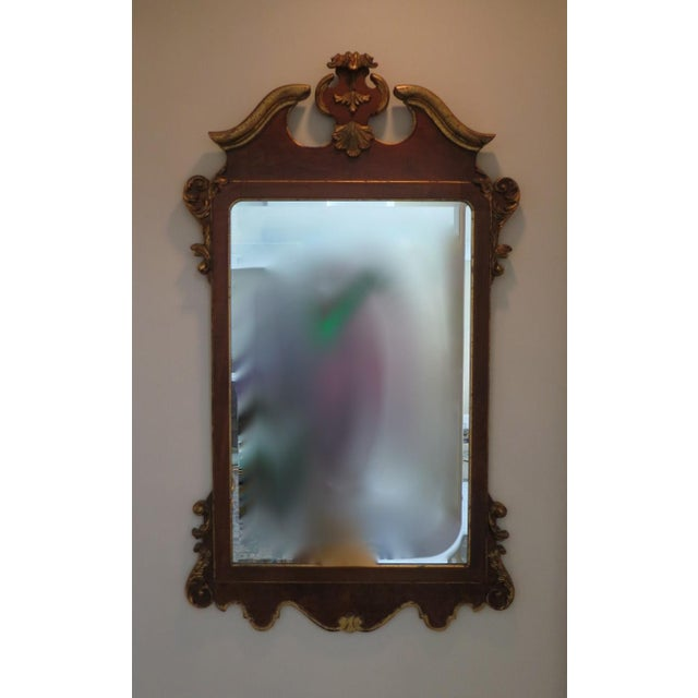 Metal Vintage Italian Gold Mirror by La Barge Burl Wood and Gold Gilt For Sale - Image 7 of 9