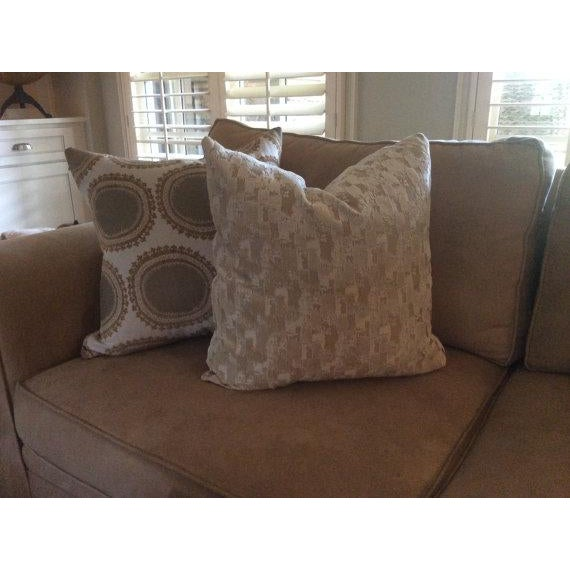 Kravet Pillows in Toffee Brown & Gray Geometric Woven Dots on Ivory - a Pair - Image 5 of 6