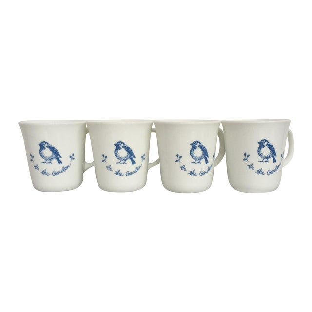 Vintage Blue & White Coffee Cups - Set of 4 - Image 1 of 11