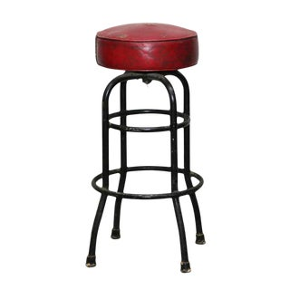 Red Leather Bar Stool For Sale
