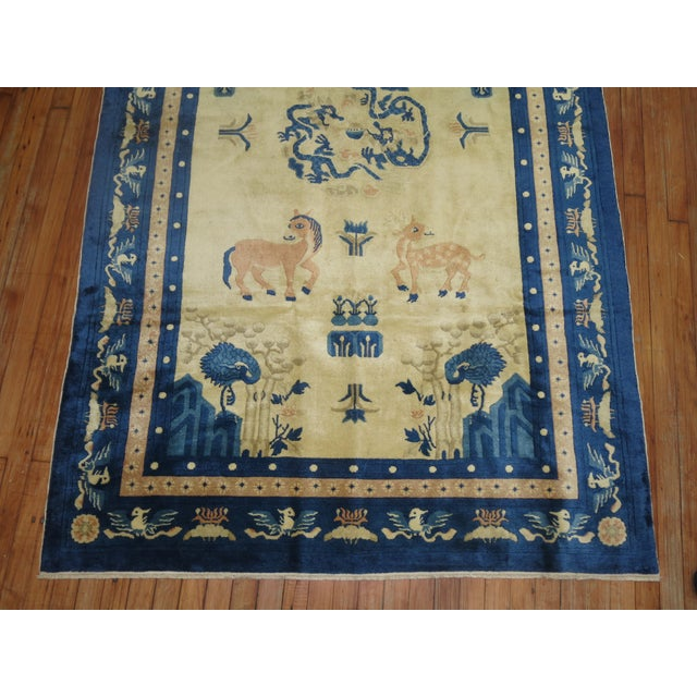 Beige Antique Chinese Pictorial Elephant Rug, 4'9'' X 7'8'' For Sale - Image 8 of 13