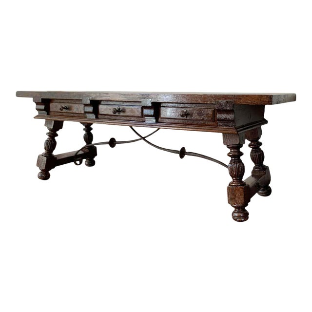 19h Spanish Bench or Low Console Table With Marquetry Drawers and Iron Stretcher For Sale