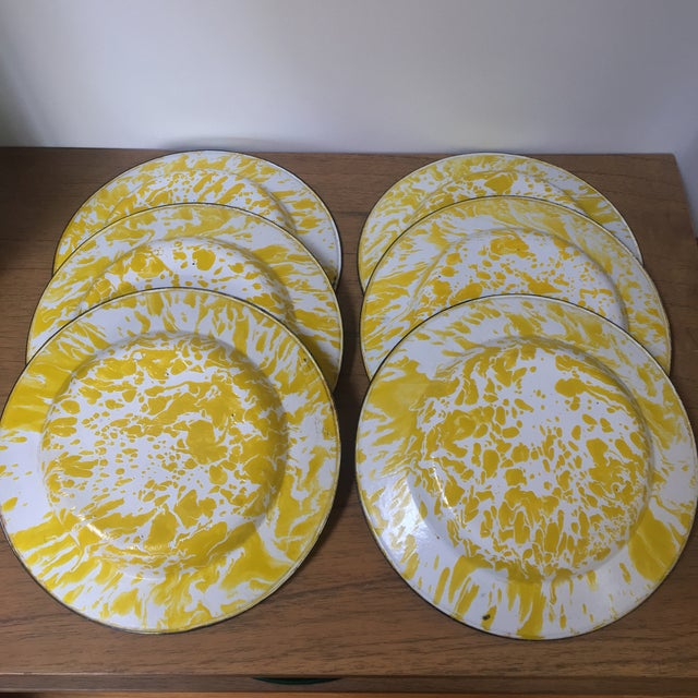 Vintage Yellow Enamelware - Set of 15 For Sale - Image 9 of 10