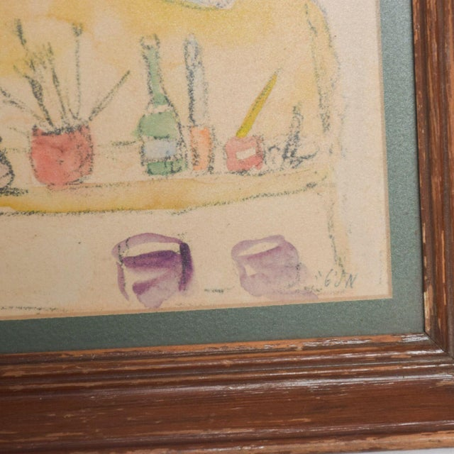 1950s Modern Mid Century Vintage Still Life Drawing Yellow Purple Lithograph For Sale - Image 5 of 9