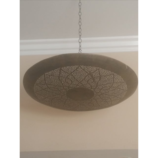 Moroccan Hand Carved Brass Ceiling Light - Image 2 of 4