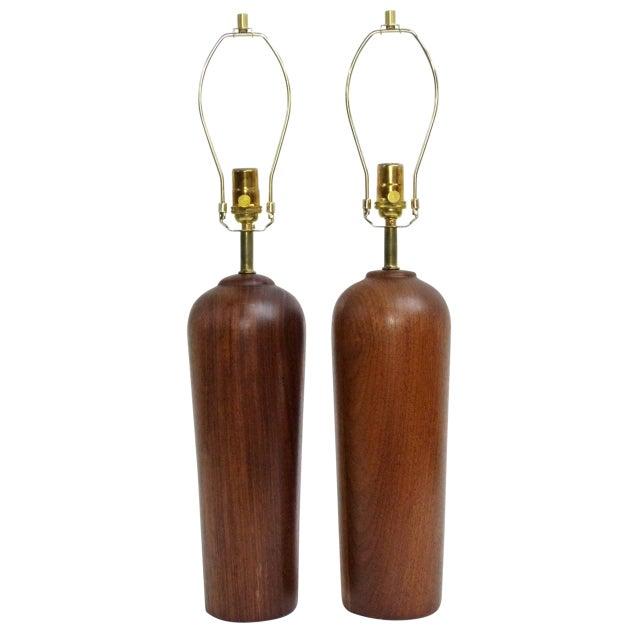 Danish Modern Teak Table Lamps - Pair - Image 1 of 6