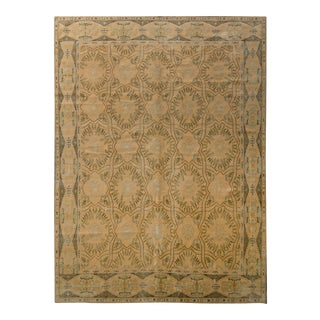 Hand-Knotted European Style Rug Beige Green Floral Trellis Pattern by Rug & Kilim