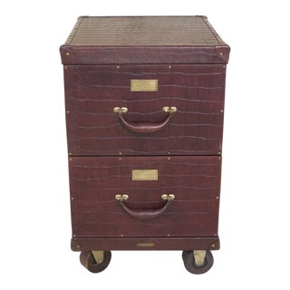 Baker Milling Road Leather Trunk Style 2 Drawer File Cabinet For Sale