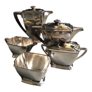 1847 Rogers Bros Legacy Silverplate Art Deco Coffee/Tea Service Set Circa 1929 - Set of 5 For Sale