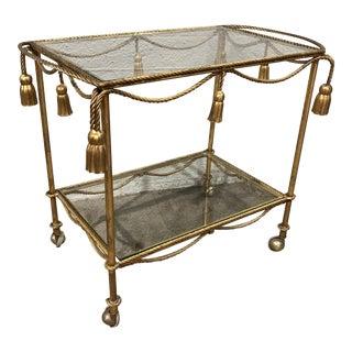 Hollywood Regency Gilt Tassel Bar Cart