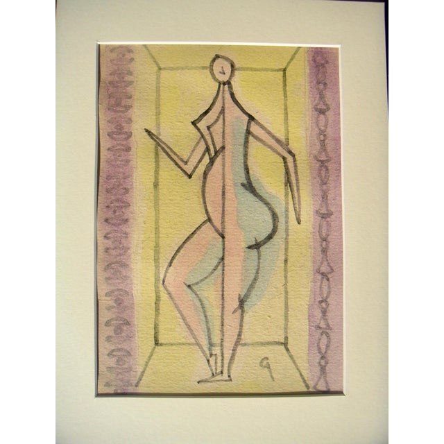 Abstracted figure in theatrical setting. Gouache on fragile paper ]see last photo] by Robert Gilberg [initial l.r.] circa...