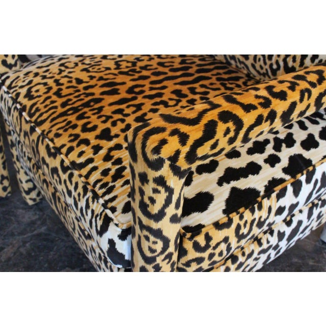 Pair of Leopard Parson Chairs in the Style of Milo Baughman, Custom For Sale In Dallas - Image 6 of 13