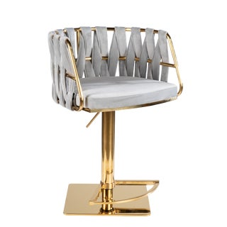 Milano Adjustable Swivel Bar /Counter Chair in Gold For Sale