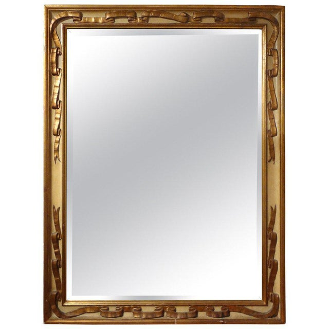 Italian Rectangular Painted and Gilt Wood Beveled Mirror For Sale - Image 9 of 9