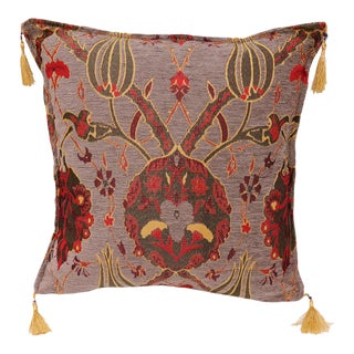 Boho Chic Turkish Tulip Chenille Gray Red Decorative Throw Pillow - a Pair For Sale