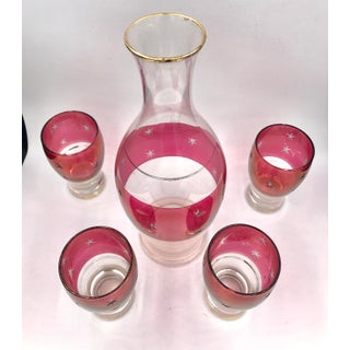 1940s Hollywood Regency Cranberry Flash Crystal Glass Decanter Cordial Set - 5 Pieces Preview