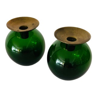 Gunnar Ander Mid Century Modern Blown Glass Swedish Candle Holders - a Pair For Sale