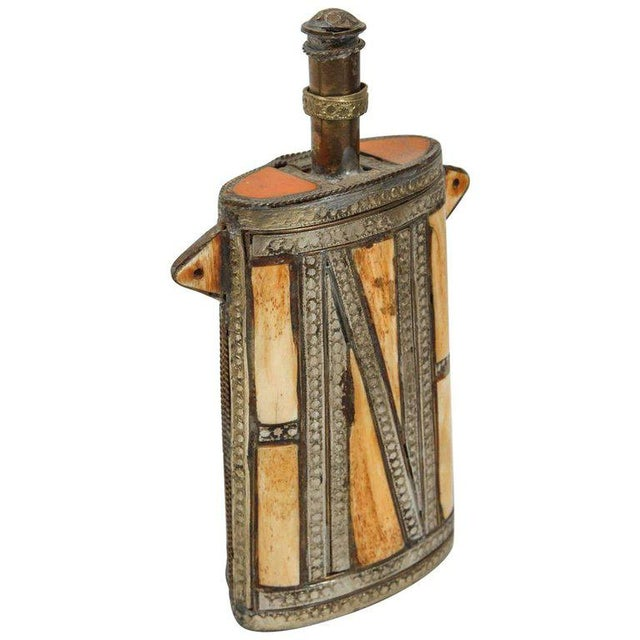 Berber Tribes of Morocco Moroccan Berber Brass Tribal Gun Powder Flask With Bone Inlay For Sale - Image 4 of 4