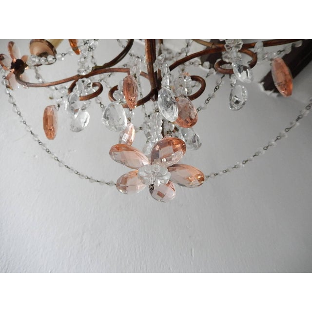 Wood French Pink Maison Baguès Style Crystal Flower Chandelier For Sale - Image 7 of 11