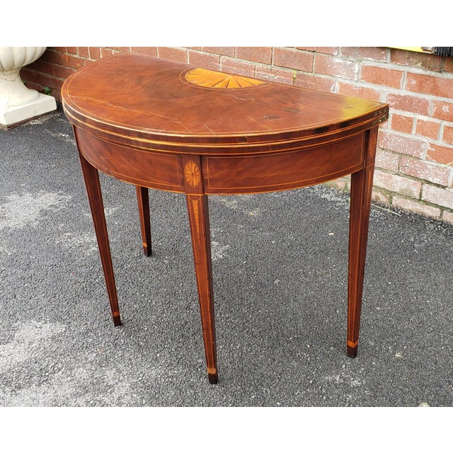 American Federal Inlaid & Figured Mahogany Demilune Games Table Rhode Island or Connecticut C1795 For Sale - Image 10 of 13