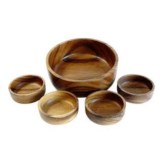 Modern Wooden Bowls - Set of 5