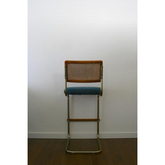 Marcel Breuer Cane, Brass and Teal Upholstered Cantilever Barstools - A Pair For Sale - Image 4 of 9