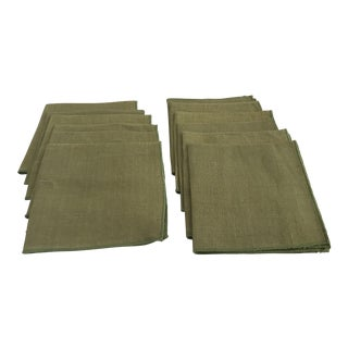Vintage Avocado Green Linen Napkins - Set of 12