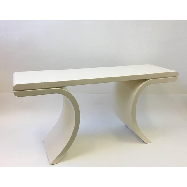 High Gloss Lacquered Console Table in the Manner of Karl Springer For Sale In Palm Springs - Image 6 of 8