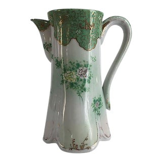 French Art Nouveau Porcelain Hand-Painted Pitcher