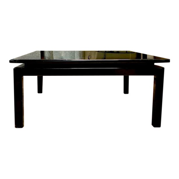 Mid Century Italian Black Lacquered Float Top Coffee Table For Sale