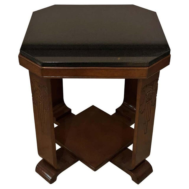 American Art Deco Side Table With Polished Black Granite Top 1930s For Sale - Image 11 of 11