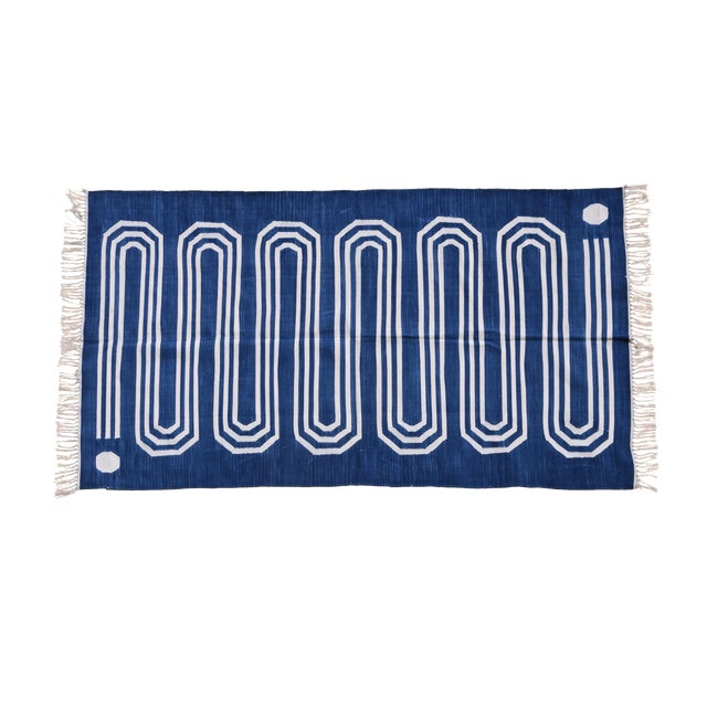 Starwort Rug, 10x14, Blue & White For Sale