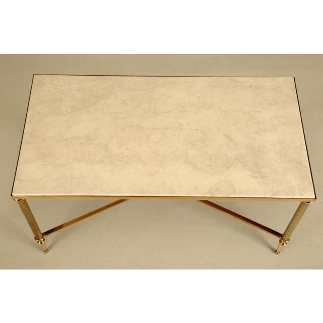 French Mid-Century Modern Brass Coffee Table For Sale In Chicago - Image 6 of 10