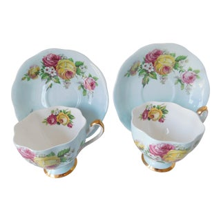 1950s Queen Anne Aqua and Rose Fine Bone China Tea Cups and Saucers - a Pair For Sale