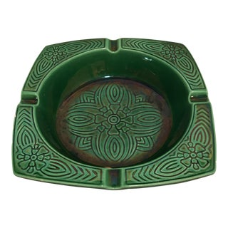 Mid-Century Emerald Green Ceramic Ashtray For Sale